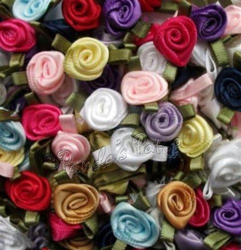 Mini Satin Ribbon Roses with Satin Leaves